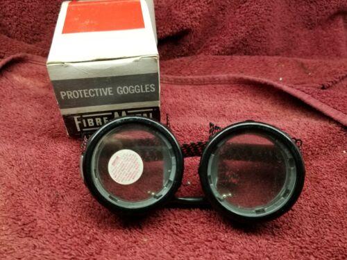 Vintage Fibre-Metal Clear Glass Goggles USA