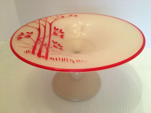 ANTIQUE VINTAGE ART DECO CAMEO GLASS PEDESTAL COMPOTE DISH BOWL