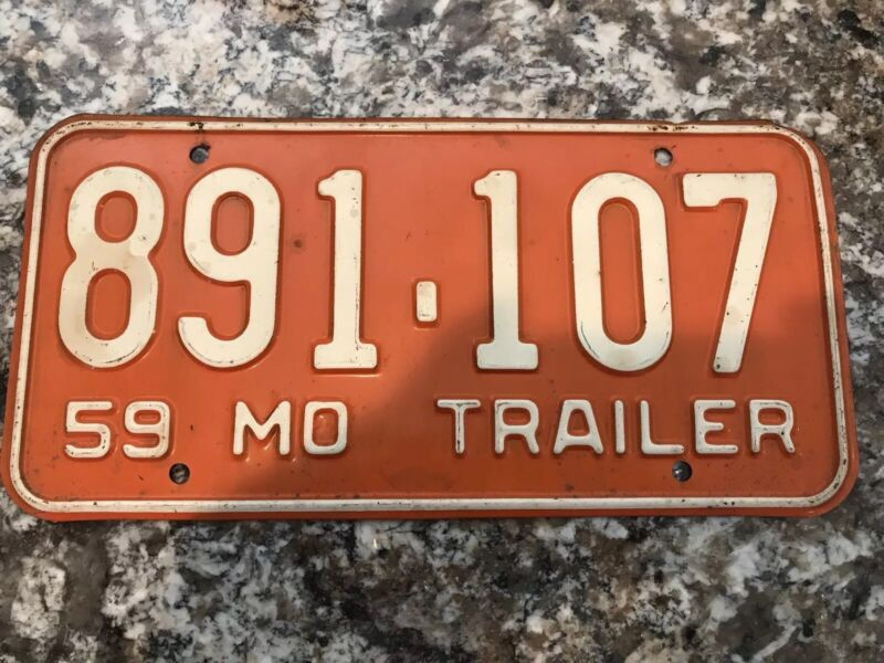 1959 Missouri Trailer License Plate 891 107