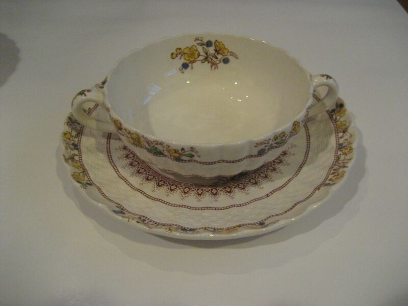 Set of 8 Spode Copeland Buttercup Cream Soups with Saucers-old brown stamp