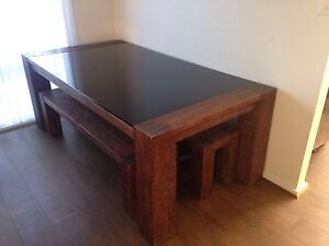 Wooden dining table with black glass top Ridgehaven Tea Tree Gully Area Preview