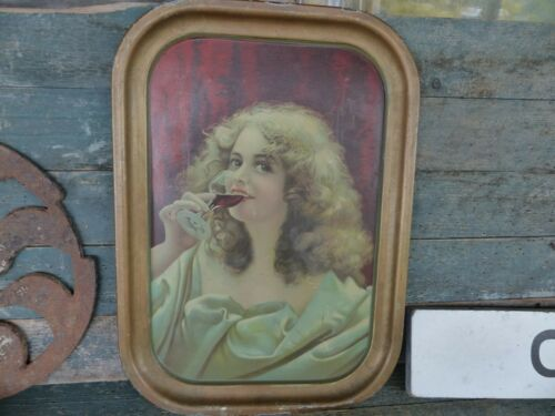 old antique victorian advertising  tray circa 1900 wine or cola