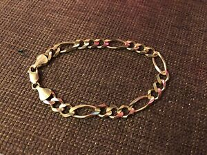 SOLID 10K GOLD FIGARO BRACELET CHEAP!