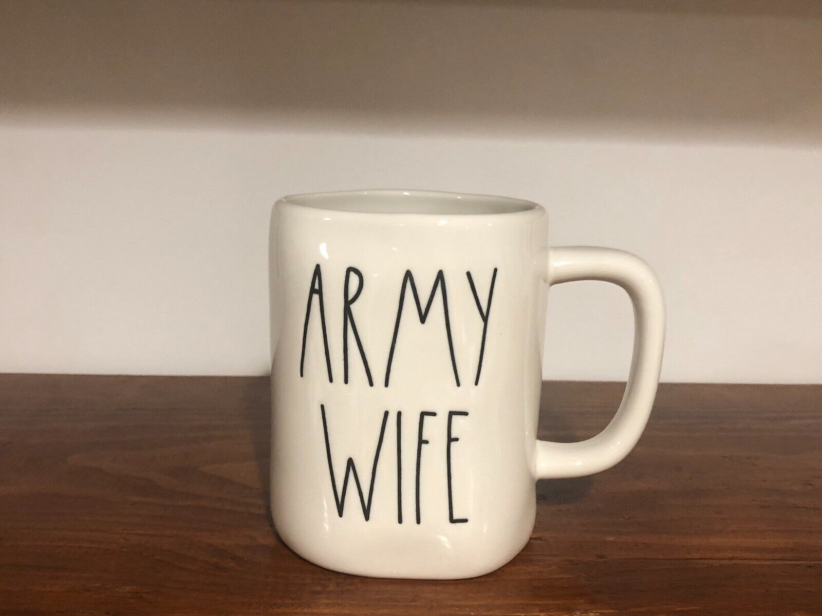 Rae Dunn Artisan Collection By Magenta Farmhouse LL Large Letter Coffee Tea Mug ARMY WIFE