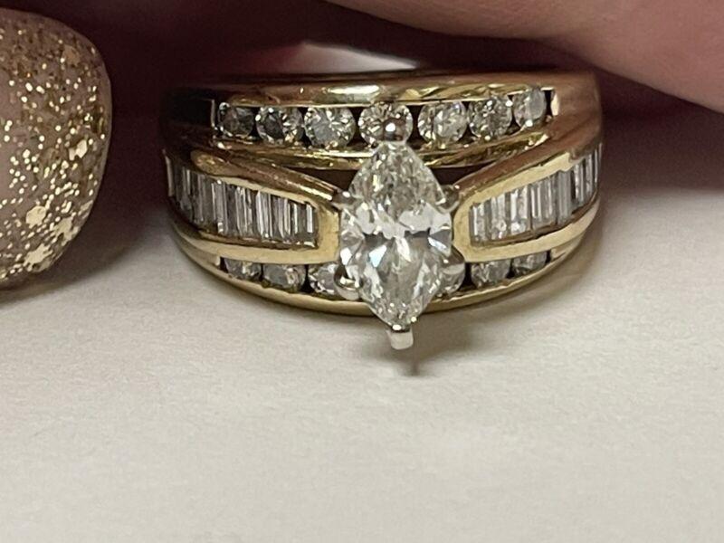 14k Diamond 2.20ctw Marquise Ring Size 6.5