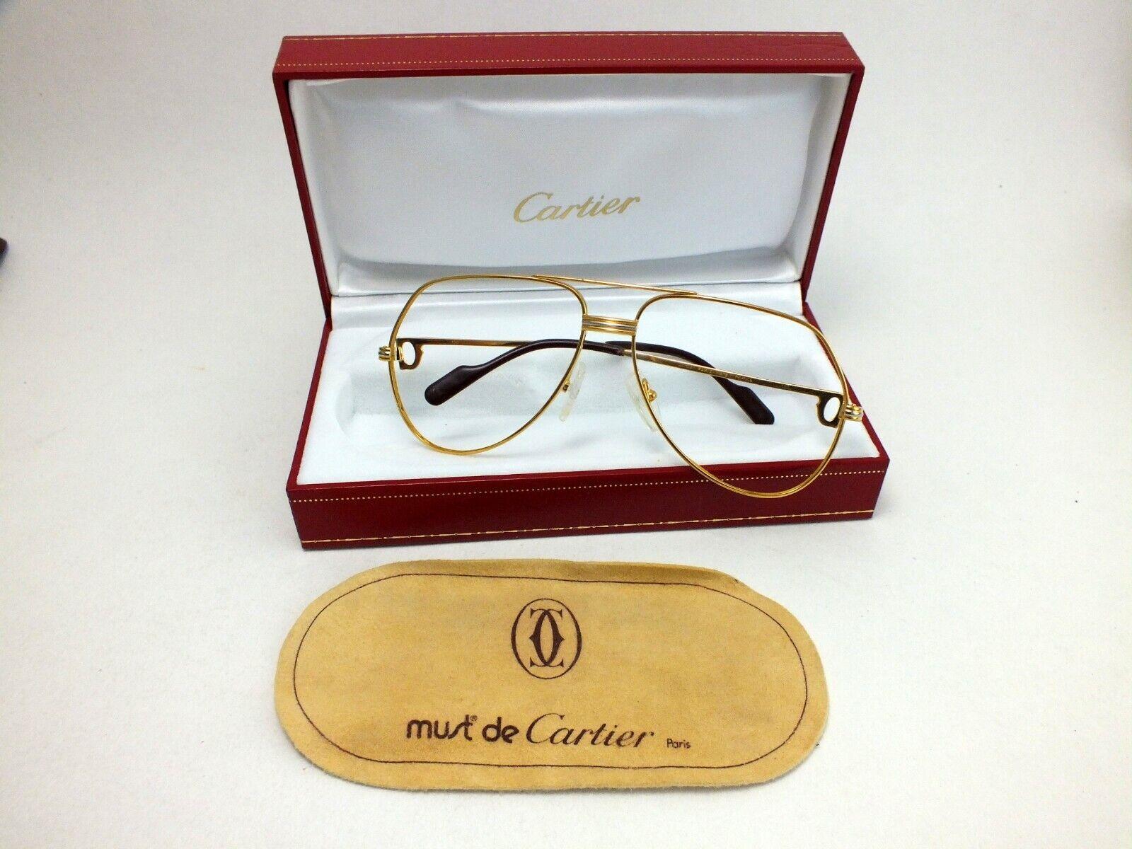 original Cartier Brille, Brillenfassung vintage glasses occhiali Must de Cartier