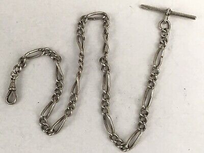 Antique Solid Silver Pocket Watch Chain, 41cms