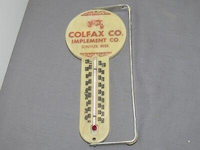 Vintage COLFAX Implement SCHUYLER Nebraska Thermometer Sign Farmall Tractor IH