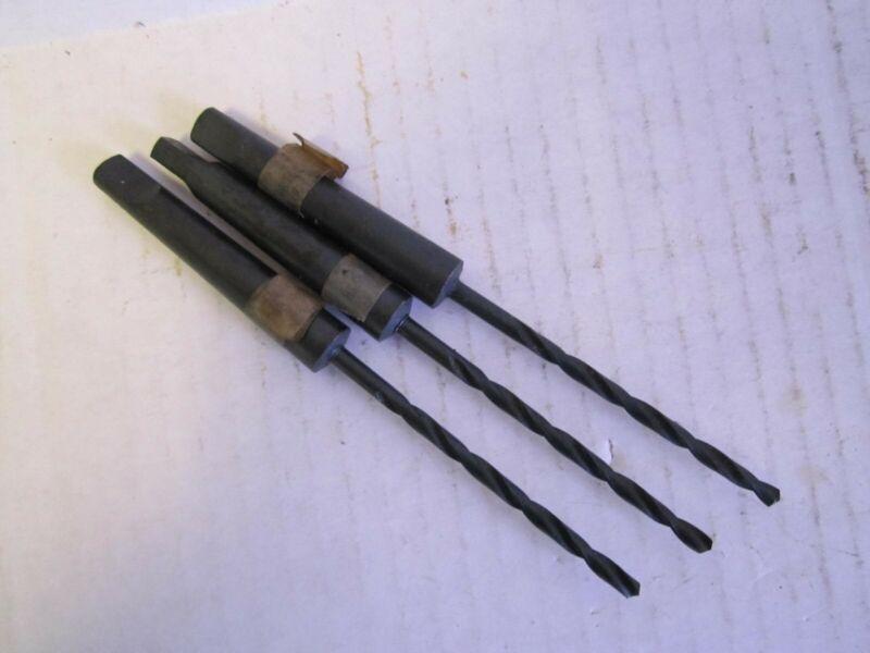 """11/64"""" 2-1/2"""" x 5-3/4"""" OAL HSS 1MT Taper Shank Drill Bits - Lot of 3"""