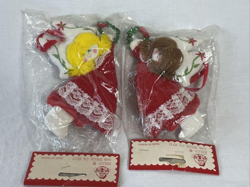 2 Vintage RDLCO Felt Yarn Cloth Angels Christmas Ornaments Embroidered NIP NOS