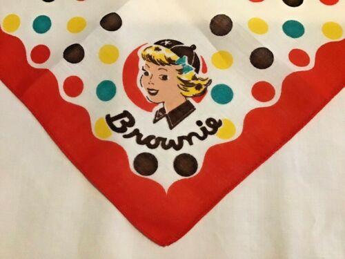 Polka-dot HANKIE 1952 Cute BROWNIE Girl Scout CHRISTMAS  LEADER Historian GIFT