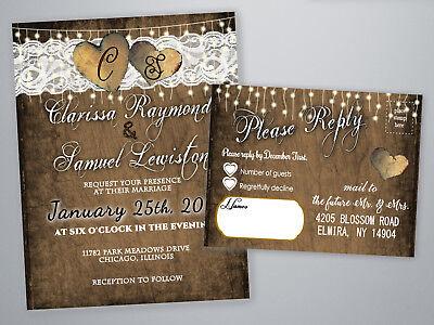 Wedding Invitations Lace Rustic Invites Brown Hearts Bridal Shower Invitation](Rustic Bridal Shower Invitations)