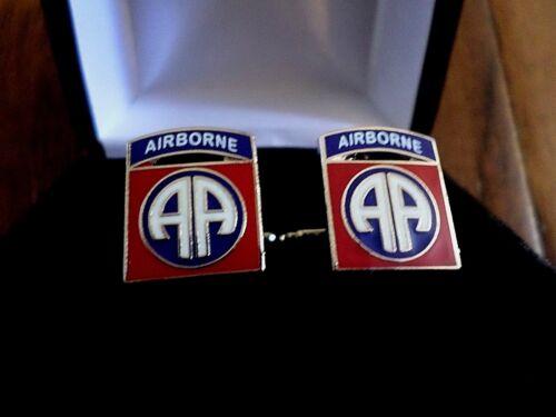 U.S MILITARY ARMY 82nd AIRBORNE CUFFLINKS WITH JEWELRY BOX 1 SET CUFF LINKS