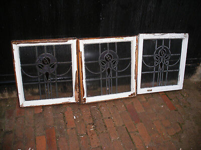 Set of  1930s stained glass panels with rose design in wooden frames