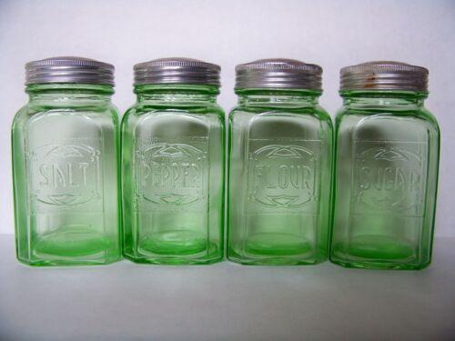 Antique Depression Era Hazel Atlas Green Transparent Embossed Glass Shaker Set