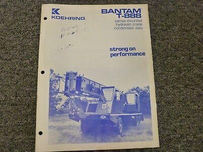 Koehring Bantam T-888 Hydraulic Crane Specifications Lifting Capacities Manual