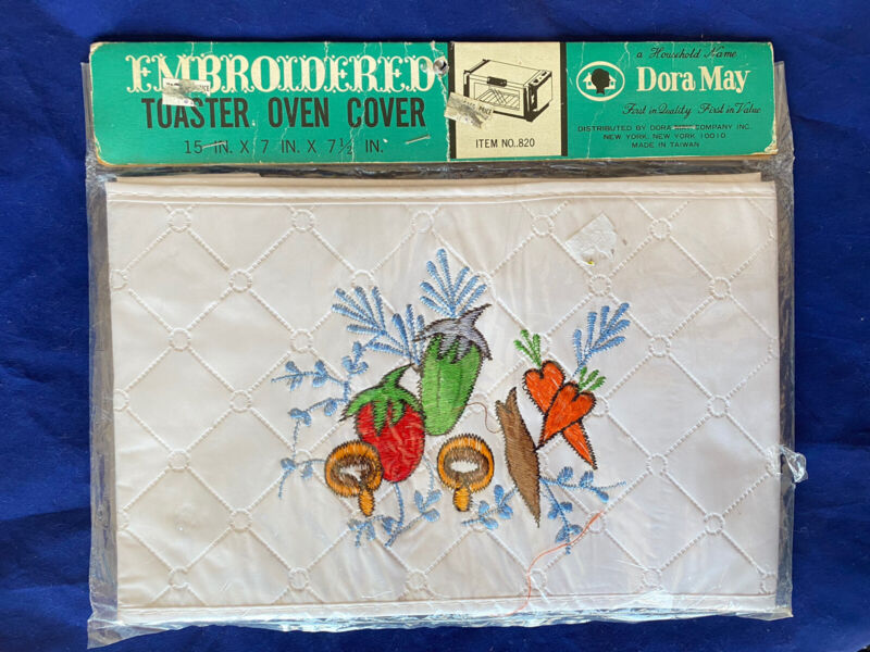Vintage Dora May Embroidered TOASTER Cover White Vegetables #820 15 x 7 x 7.5