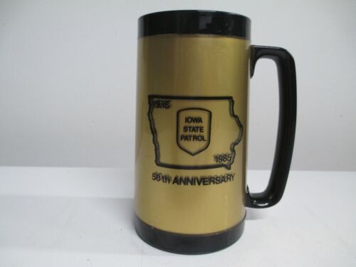 Rare Iowa State Patrol Beer Mug Plastic Stein Cup 50th Anniversary 1935 to 1985