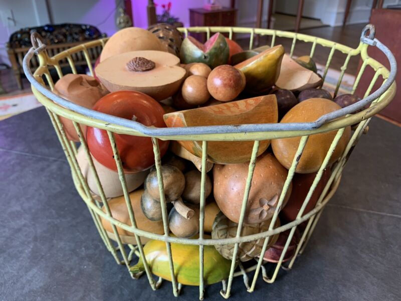 55 pieces of Vintage Wooden Fruit in a Vintage Yellow Egg Basket