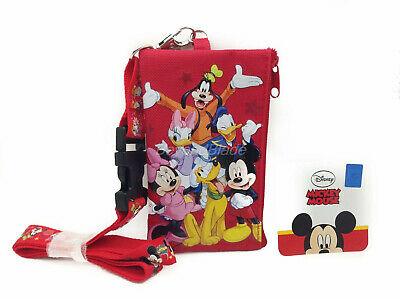 Mickey Friends Red Lanyard Fastpass ID Ticket Holders with Detachable Coin Purse](Red Lanyard)