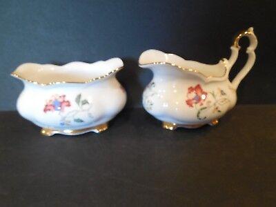 Royal Albert Low Creamer & Open Sugar Bowl Set Pink & Blue Flowers Gold Trim ()