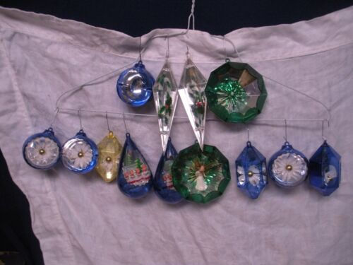 13 assorted Vintage jewel brite plastic Christmas ornament lot bright jewelbrite