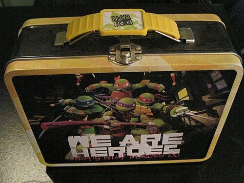 Teenage Mutant Ninja Turtles Square Lunch Box Tin or Stationery  - Yellow - Nice