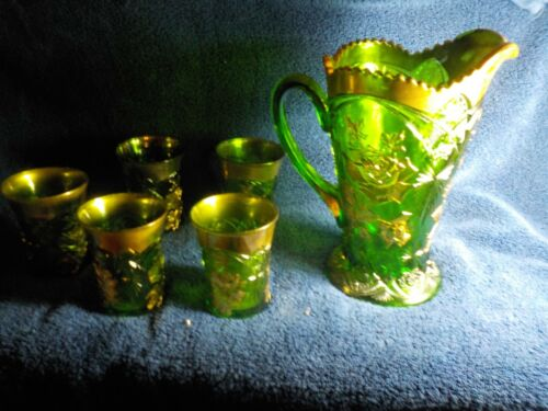 EAPG Delaware Emerald Green Gold Gilt Pitcher and 6 Tumblers Rose Design