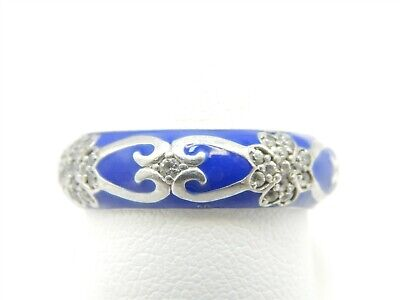 HIDALGO STERLING SILVER BLUE ENAMEL ETERNITY BAND RING CUBIC ZIRCONIA FLOWERS (Hidalgo Flower)