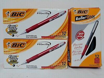 Lot 3 Packs Bic Velocity Pens 36 Total Red Ink Easy Glide Ballpoint Vlg11 16268