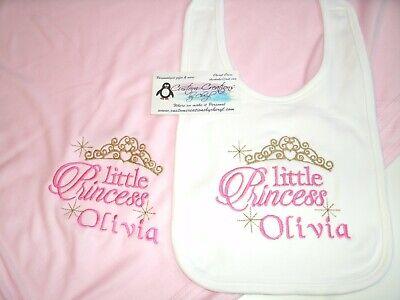 Little Princess Crown Personalized Baby Toddler Blanket & Bi