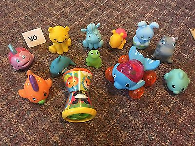 Lot Of Kids Toys Rubber Float Squeeze Baby Wash Bath Play & Mattel GUC
