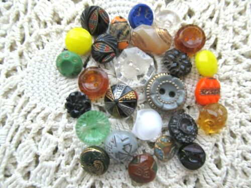 LOT OF 25 FANCY COLORFUL SMALL DIMI VINTAGE GLASS BUTTONS