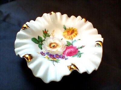 White porcelain ashtray with gold borderashtray with pink flowersVintage ashtray Capodimonte