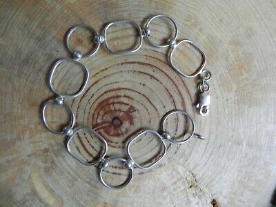 "Sterling Silver Open SQUARE & CIRCLE Link Bracelet 7 3/4"" by SU"