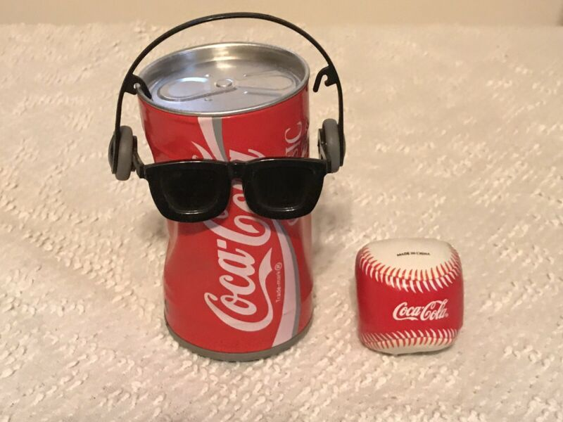 """2 Lot Coca Cola  """"Dancing"""" Coke Classic Can - Sound Activated & Hackey Sack"""