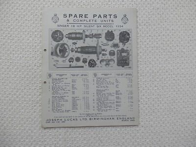 SINGER EIGHTEEN 18 SILENT SIX 1934 LUCAS Parts List published March 1934
