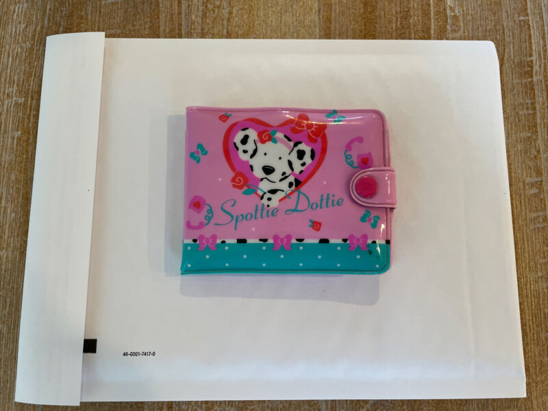 Sanrio Spottie Dottie Pink Plastic Wallet 1990, 1993 Vintage