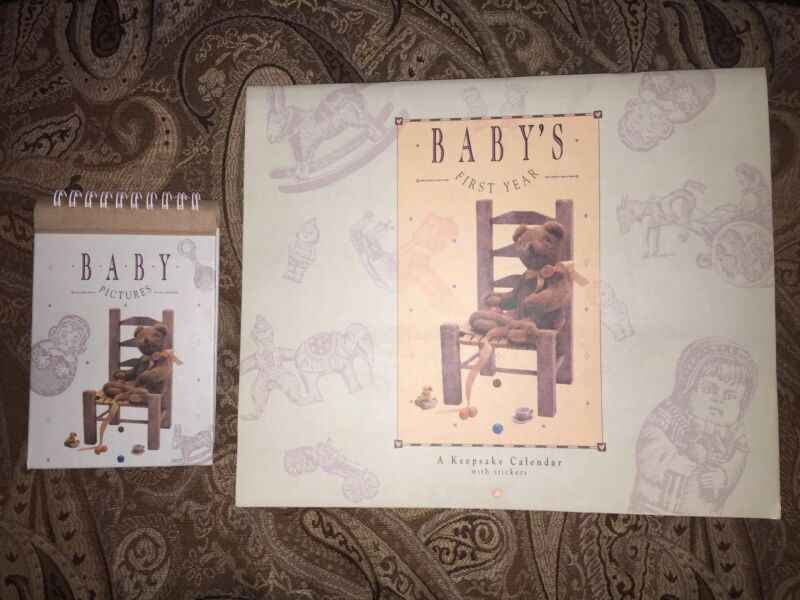 BABY'S FIRST YEAR KEEPSAKE CALENDAR WITH STICKERS & MATCHING PHOTO BOOK