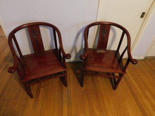 PAIR  ESTATE  ANTIQUE CHINESE ROSEWOOD ARM CHAIRS ARMCHAIR