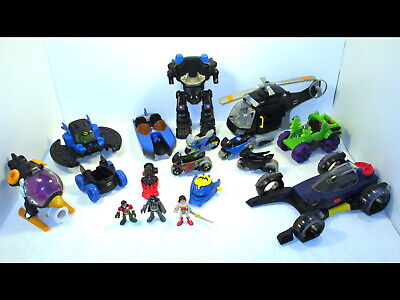 Fisher Price Imaginext Batman Robin Wonder Woman w/DC Vehicles Helicopter