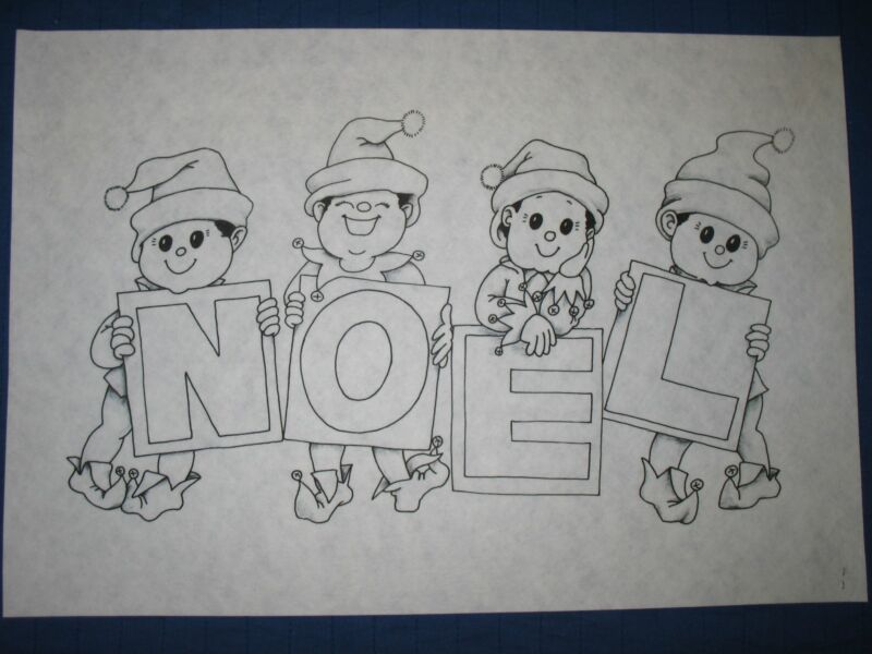 * TRI CHEM 7587 NOEL ELFS MERRY CHRISTMAS SIGN Picture to paint TRICHEM