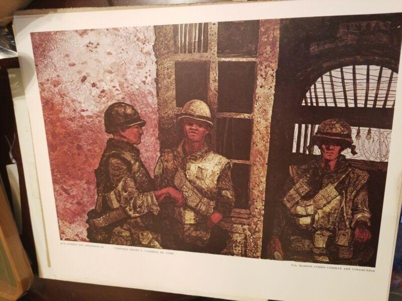 "Vietnam Era USMC Marine Corps Combat Art Collection ""Hue Tet Offensive""  20 × 16"