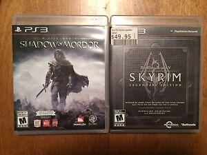 PS3 GAMES- SHADOW OF MORDOR AND SKYRIM LEGENDARY EDITION