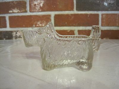 VINTAGE 1930'S L. E. SMITH CLEAR CUT GLASS POST CEREAL SCOTTIE DOG CREAMER #6