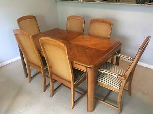 Tasmanian wood dining table with French fabric chairs Cremorne North Sydney Area Preview