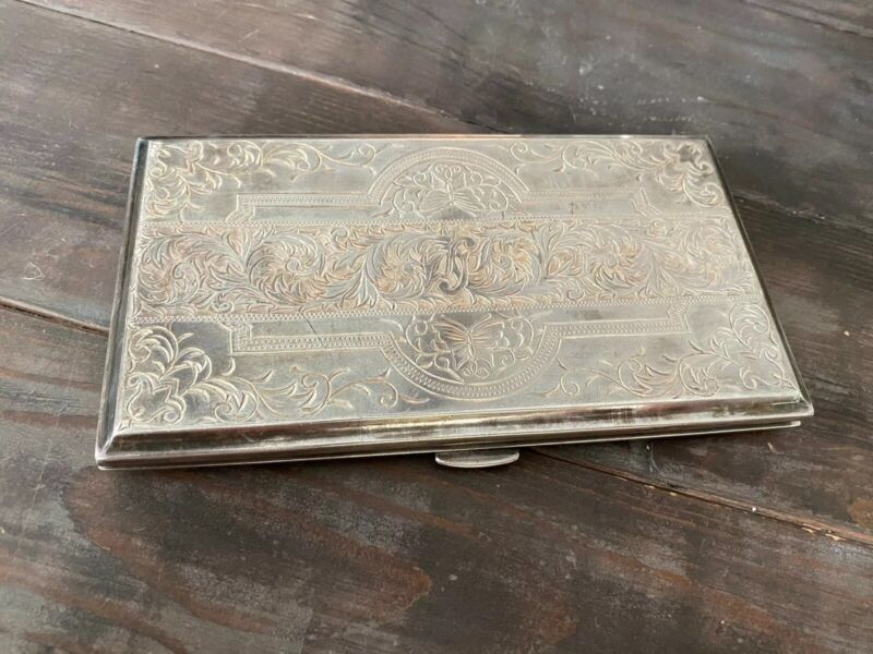 Vintage Signed Toyokoki Japanese 950 Silver Etched Scroll Cigarette Case 251