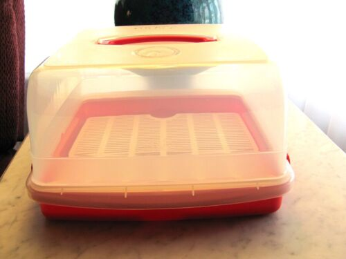 Lock & Lock Red Cake Carrier and Keeper Container With Storage Date Indicator