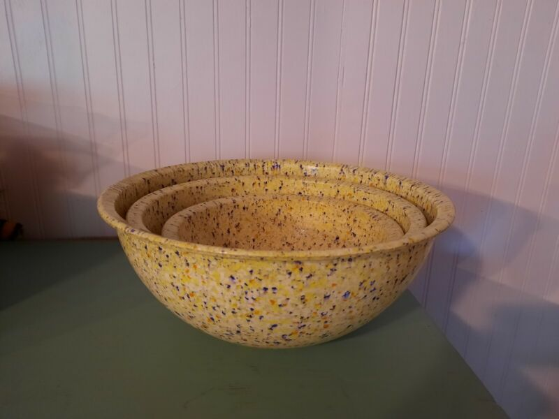 Brookpark Vtg 3-pc Yellow Confetti Melamine Mixing Bowl Set