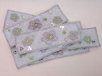 Pack of 10 Blue Silver Flower Embroidered Banner Style Card Making Motifs #0E7